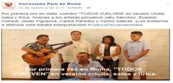 """<p>INTERPRETACIÓN MUSICAL """"TODOS VUELVEN"""", ORGANIZADO POR EL CONSULADO DEL PERÚ EN ROMA</p>"""